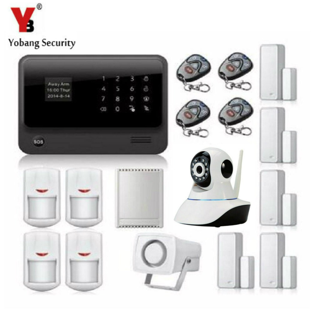 YobangSecurity Android IOS APP WIFI GSM Home Burglar Alarm System with WIFI IP Camera Relay PIR Detector Magnetic Door Contact