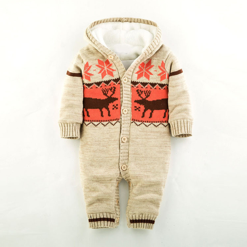 Baby Warm Thick Winter Knitted Sweater Rompers Newborn Boys Girls Jumpsuit Climbing Clothes Christmas Deer Hooded Outwear 2017 baby jumpsuits winter overalls deer kinitted rompers climbing clothes sets for newborn boys girls costumes hooded sweater