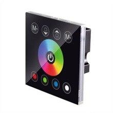 DC12V/24 V 4A * 4CH 블랙/화이트 지우기 표면 패널 디지털 터치 스크린 조 광 기 홈 벽 스위치 RGBW/RGBWW LED 스트립에 대 한