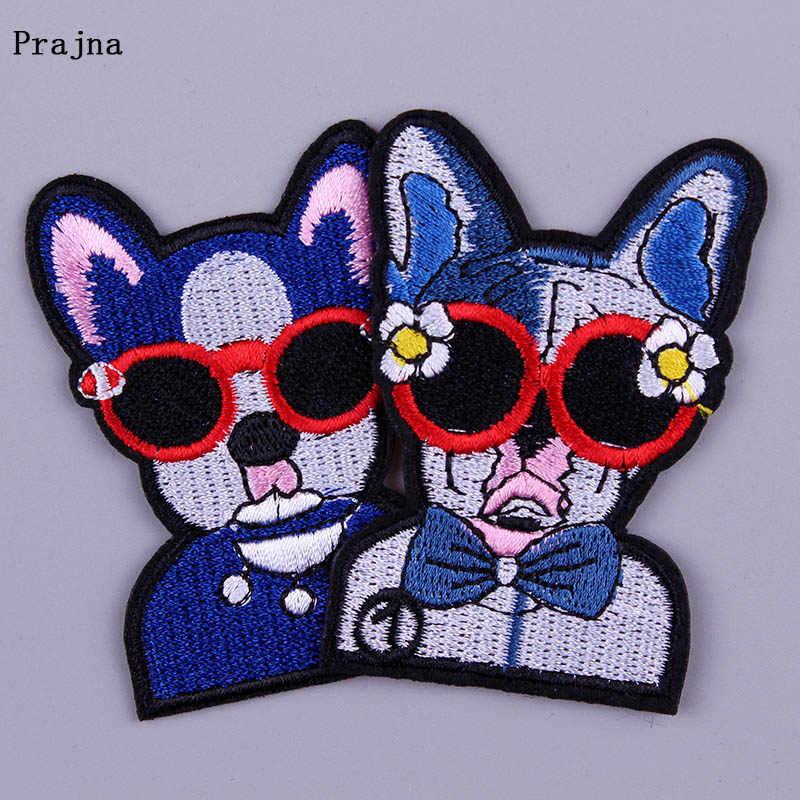 Prajna perro animales parches bordados para la ropa insignia hierro en el parche a la tela dibujos animados lindos apliques ganchos DIY Loop F