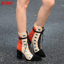 BEANGO Fashion Mixed Color Suede Leather Women Short Knight Boots Lace Up Sexy Thick High Heels Dress Shoes Woman Autumn&Winter