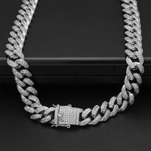 Cuban Link Necklace Copper CZ Clasp Iced Out Gold Silver Hip hop Chain Men Necklace 18inch 20inch