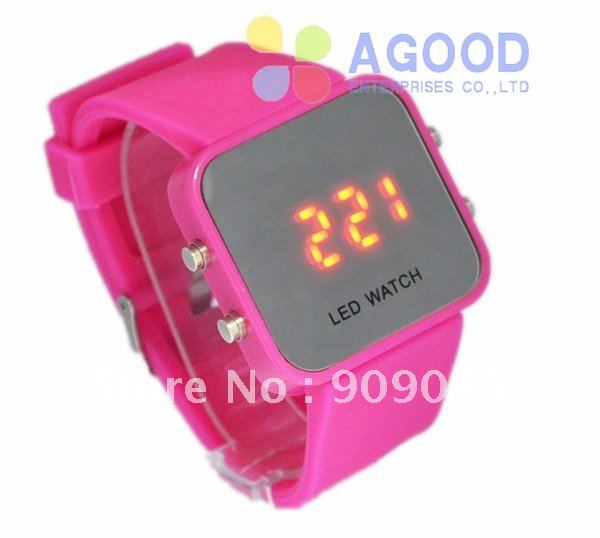 450pcs factory sales directly led mirror watch makeup watch with plastic cases colors candy jelly silicone fashion watches sw06
