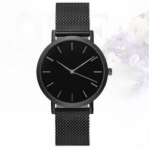 Женские часы из нержавеющей стали с сетчатым ремешком, модные простые Стильные кварцевые часы топового бренда, тонкие мужские часы с циферб...