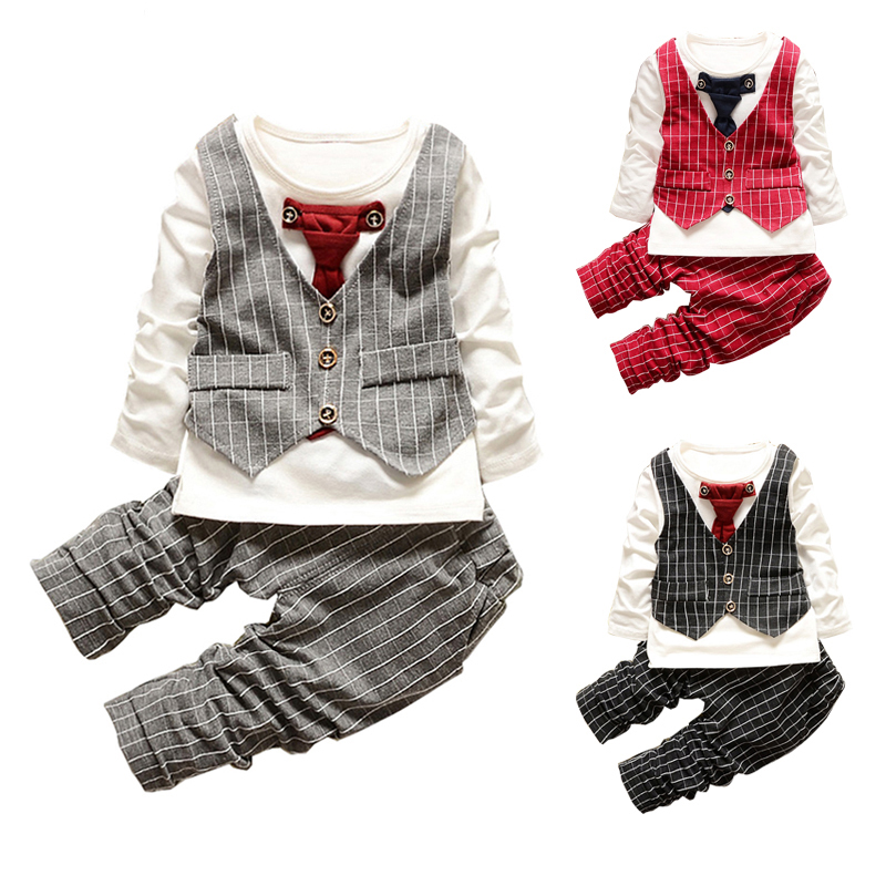 Baby Clothing Set Gentleman Bow Tie Wedding Children Clothes Set Long Sleeve T-Shirt+Striped Pants Outfits Suits Boys Clothing kids clothing set plaid shirt with grey vest gentleman baby clothes with bow and casual pants 3pcs set for newborn clothes