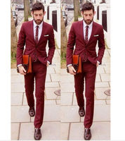 Men's Wedding Suits Two Piece Burgundy Groom Man Best Man Formal Evening Tuxedo best men suit with pants 2 piece jacket custom s