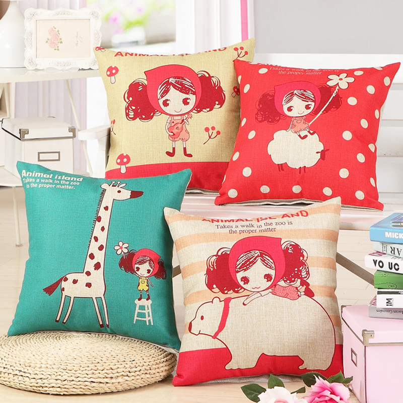 Animal Island Cute Girl Cushion Include Filler Core 18inch 45*45cm Student Child Xmas Gift Beds Sofa Decor Car Seat Back Pillows