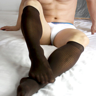 Men silk stripe Sexy Socks Men formal suit Socks dress Sexy Sheer Stockings Dark brown Stocking gentleman Socks
