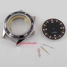 41mm black ceramic bezel Watch Case blue dial + hand fit ETA 2824 2836 MOVEMENT цена и фото