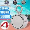 Магнитный vissen 200/300/500 кг, двухсторонний Неодимовый металломагнитный детектор, рыболовный комплект + 10 м трос, бытовой магнит, визуальный крюч...
