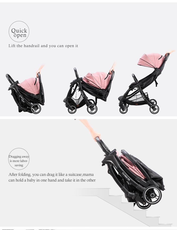 FREE SHIPPING RUSSIAN Dearest A8L Fast Folding Baby Stroller With Removeable Canopy