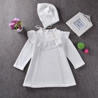 Knitted Girls Long Sleeve Dress Newborn Baby Girls Sweater Princess Hooded Dress White Red Baby Girl
