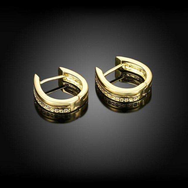 Изысканные серьги кольца женские huggie с позолотой желтого