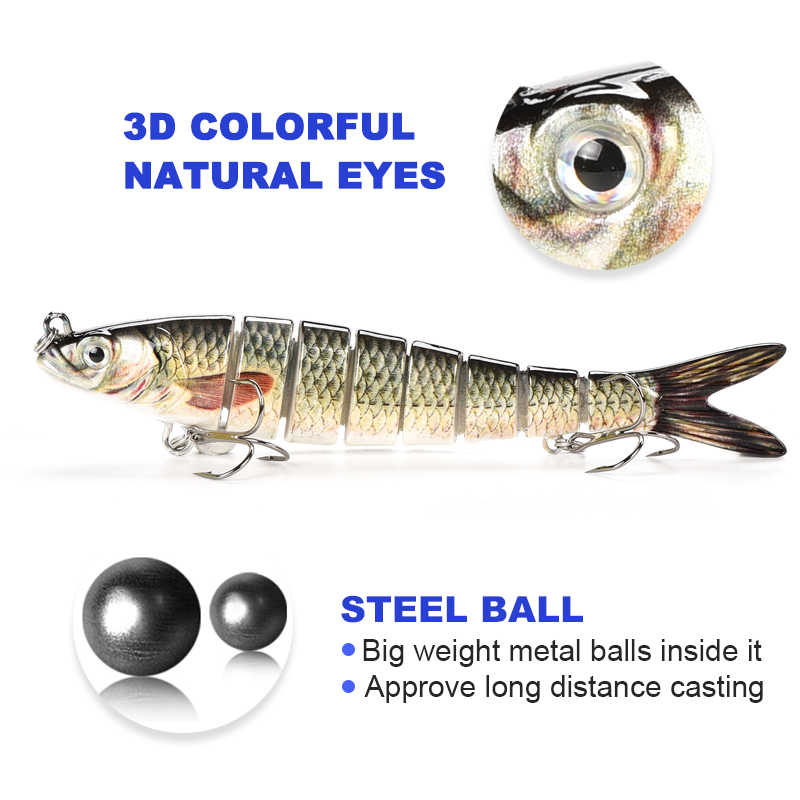 Fishing lure 8-segement Isca Artificial Pike Lure Muskie Fishing Lures Swimbait Crankbait Hard Bait Fishing Accessory For Bass