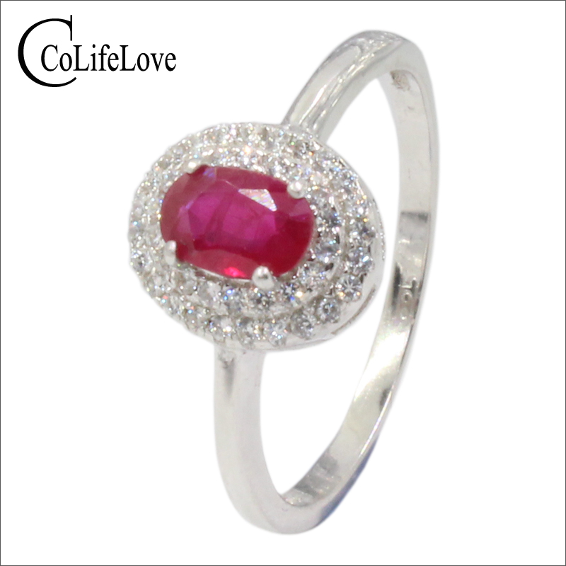 0.5 ct natural ruby engagement ring for woman 4 mm*6 mm SI grade ruby silver ring solid 925 sterling silver ruby wedding jewelry путь ruby