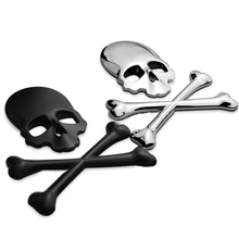 3D 3M Skull Metal Skeleton Crossbones Car font b Motorcycle b font Sticker Label Skull Emblem