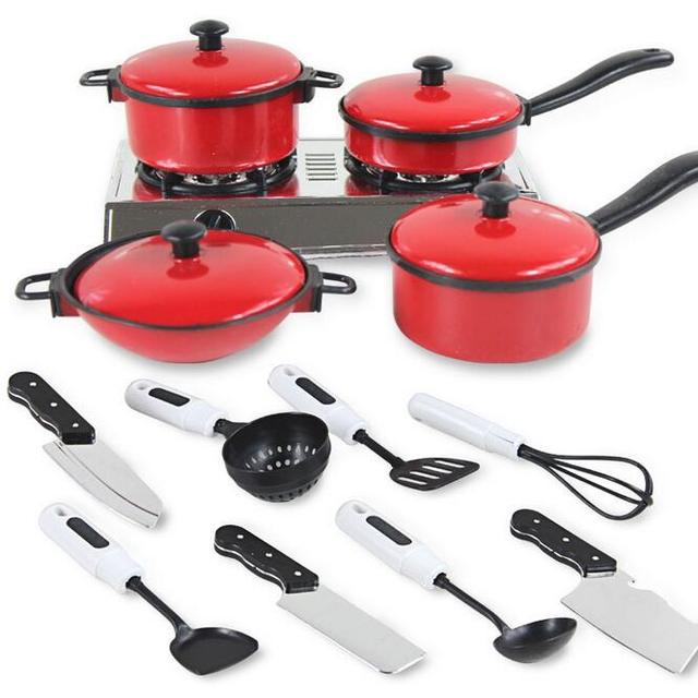 Children Play Simulation Red 13 Piece Baby Educational Cooking Pot Meal Kitchen  Utensils And Appliances With