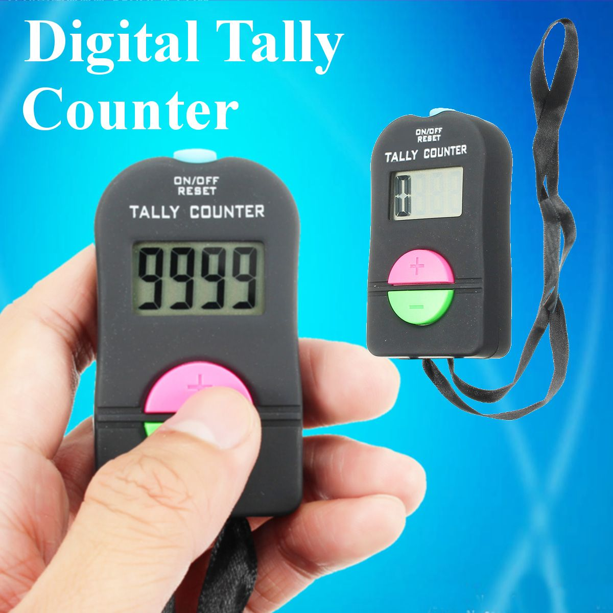 New Digital LCD Electronic Finger Hand Manual Ring ON/OFF RESET Tally Counter