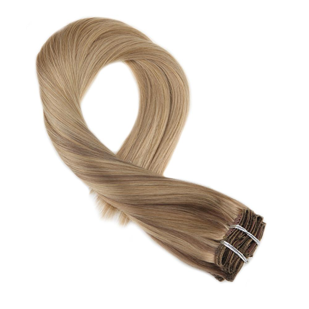 Moresoo 100% Real Remy Clip In Human Hair Extensions Balayage Ombre Color #10/16/16 Clip Hair Extension Natural 7Pcs /100G/Pack