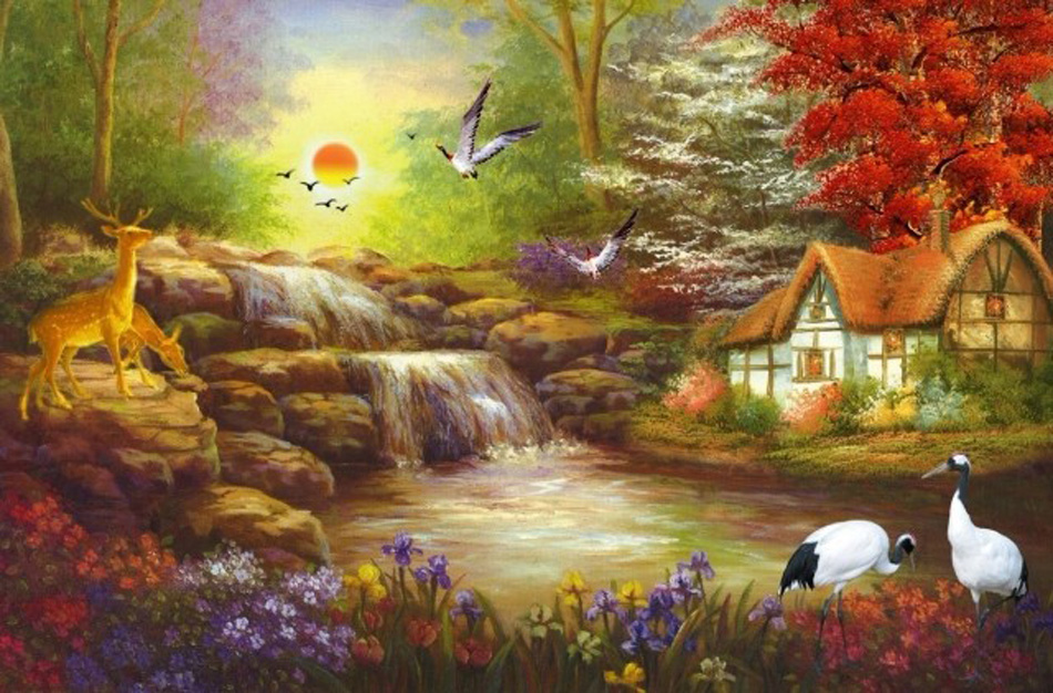 Sunset country time oil painting 3d wall mural rolls for Country wall mural