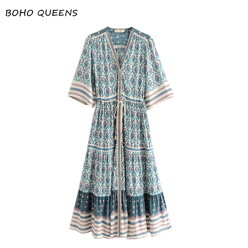 2018 vestidos Boho dress Floral print bat sleeve beach long Bohemian dresses women maxi dress Ladies