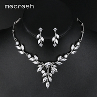 Mecresh Noble Cubic Zirconia Bridal Jewelry Sets Vivid Leaf Shape Necklace Sets Silver Color Wedding Jewelry