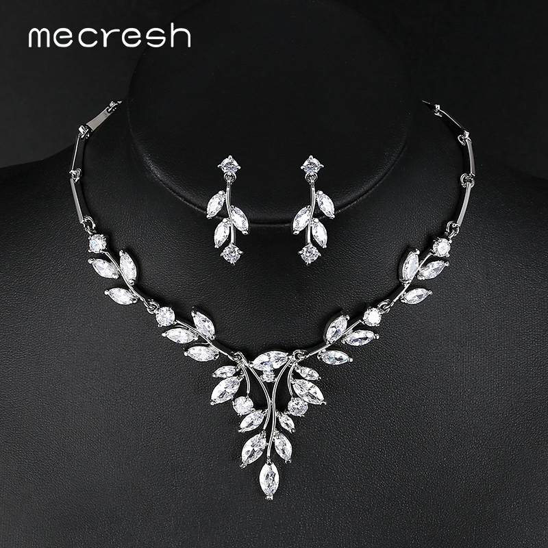 Mecresh Elegant Silver Color Bridal Wedding Jewelry Sets for Women Vivid Cubic Zirconia Leaf-Shape Necklace Earrings Sets TL485
