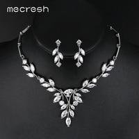 Mecresh Noble Cubic Zirconia Bridal Jewelry Sets Vivid Leaf Shape Necklace Sets Silver Color Wedding Jewelry