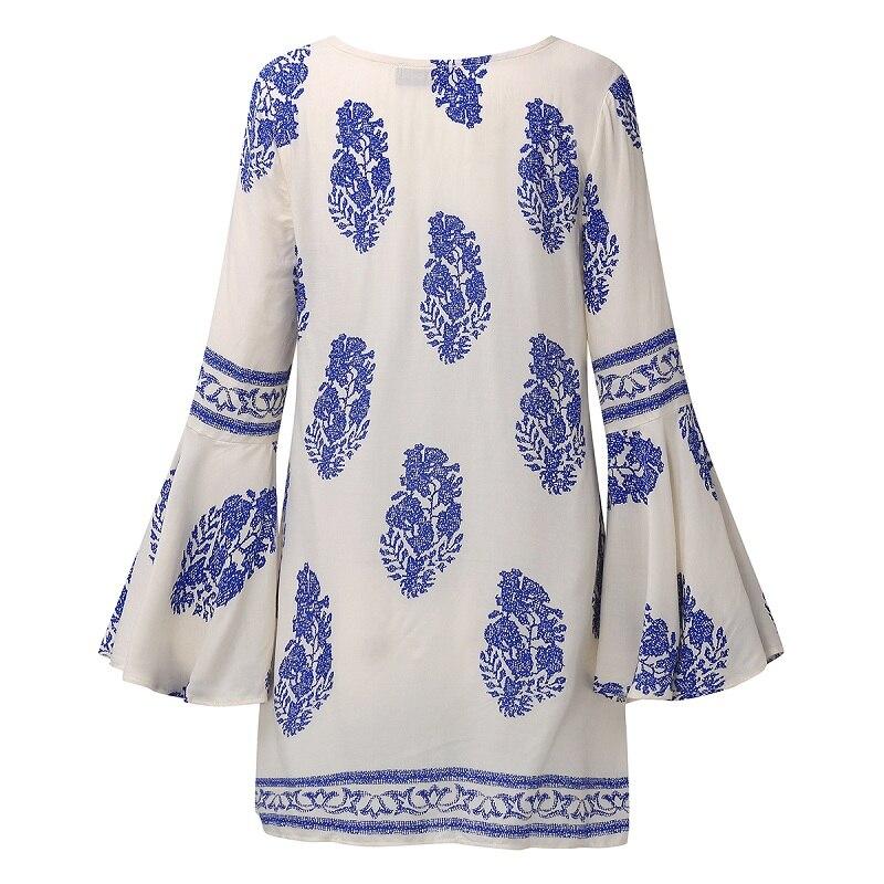 ZANZEA 2018 Dame Boho Lace Up V-Neck Shirt Stor Størrelse Floral - Dametøj - Foto 5