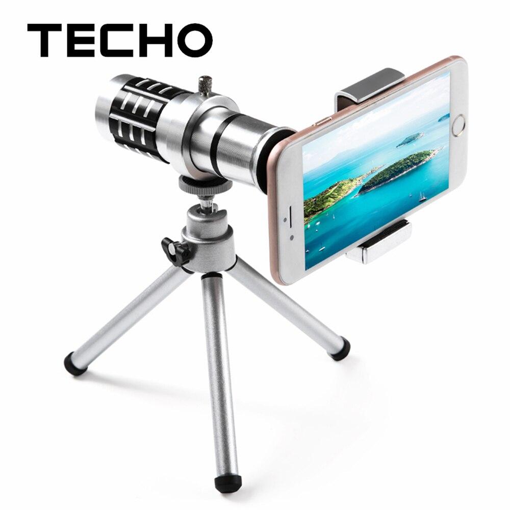 TECHO Universal Clip Holder 12X Zoom Telescope Telephoto