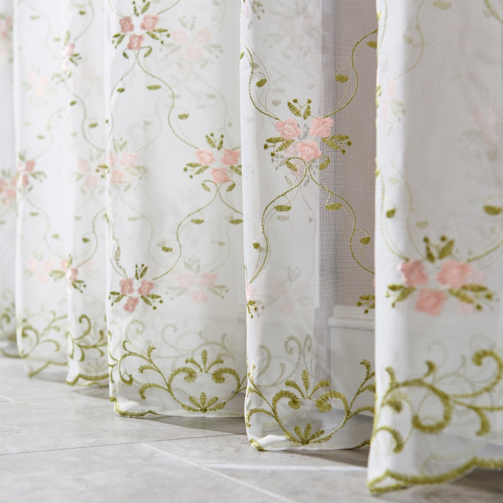Moka Green Red Floral European Embroidery Window Curtains ...