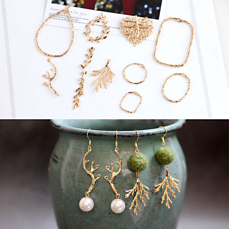 Pure Copper Plated 18K Genuine Gold Color Antler Leaves Jewelry Materials DIY Earrings Accessories Bracelet Necklace Pendants