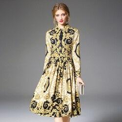 Women's Runway Shirt Dress Elegant Vintage Spring Autumn Jurken Christmas Robe Femme Buttons Long Sleeve Flower Dress Yellow 3
