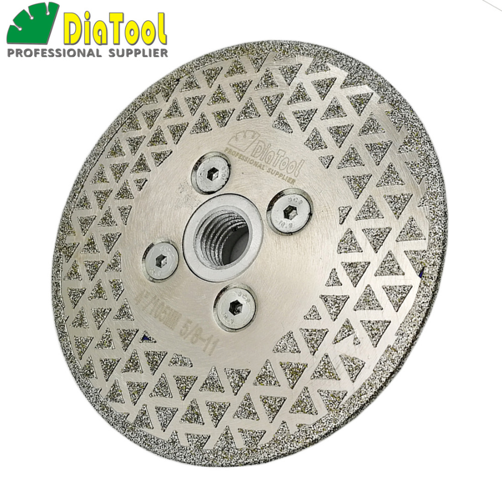 DIATOOL 1pc Electroplated Diamond Cutting Saw Blades Grinding Disc 5/8-11 Flange Single Side Coated Diamond Wheel Dia 4