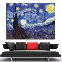 1 PCS/SET Huge Picture Classic Landscape Oil Painting On Canvas The Starry Night From Van Gogh canvas paint Living Room Wall Art