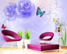 beibehang Customized living room wedding decoration 3d wallpaper 3D stereo Water Rose butterfly TV background