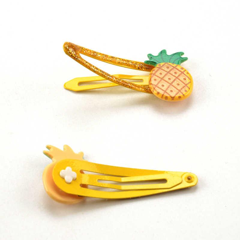 Lote de 2 unidades de nuevos accesorios para el cabello para niños, horquillas de fruta de piña y fresa, 5cm, corona de caballo y unicornio de dibujos animados, pinza para el pelo para niñas