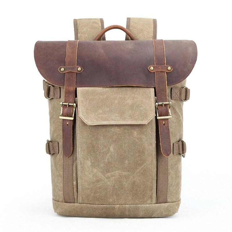 Bagaj ve Çantalar'ten Sırt Çantaları'de Fotoğraf çantası SLR kamera çantası su geçirmez batik tuval laptop sırt çantası retro dijital kamera sırt çantası ile hakiki deri kılıf'da  Grup 1