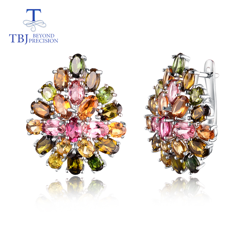 Natural Brazil tourmaline clasp earring 925 sterling silver fine jewelry multi color gemstone flower design luxury