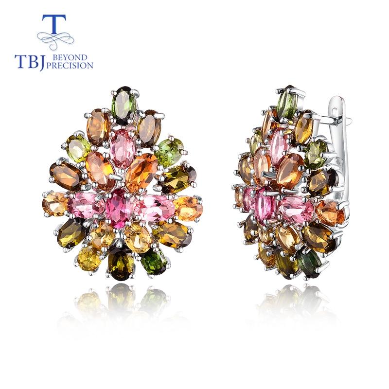 Natural Brazil tourmaline clasp earring 925 sterling silver fine jewelry multi color gemstone flower design luxury