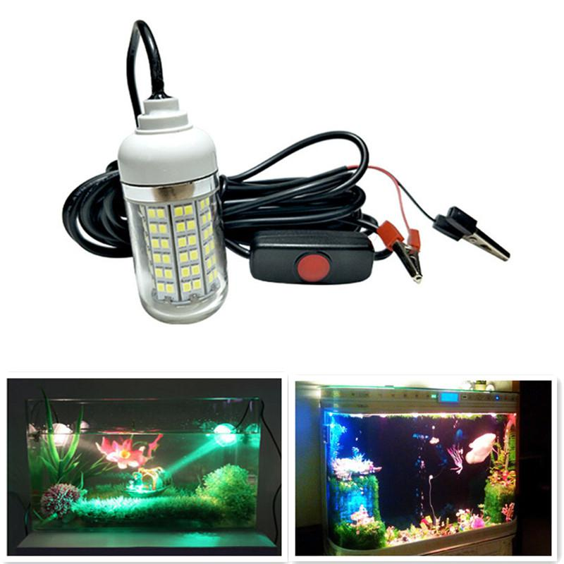 AKDSteel IP68 108LED Lure Fish Lights Professional Underwater Fishing Light With Alligator Clip Attracting Fish Lamp 12V-24V
