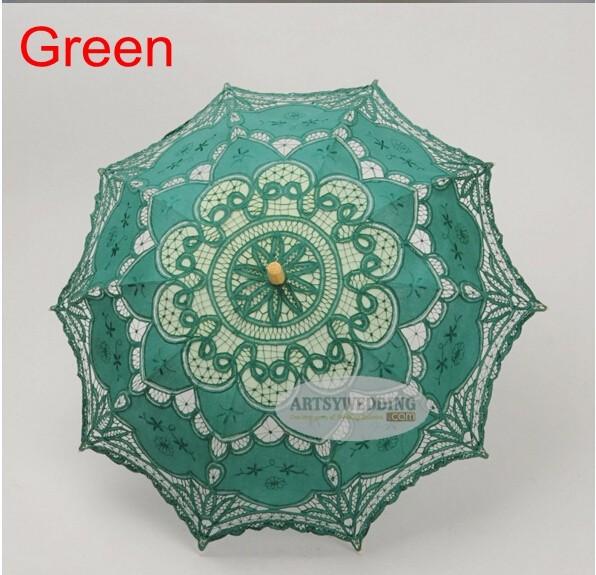 New Lace Umbrella Cotton Embroidery White/Ivory Battenburg Lace Parasol Umbrella Wedding Umbrella Decorations Free Shipping 19