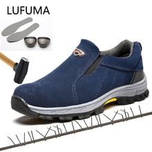 Marke plus größe 39-46 stahlkappe frauen männer arbeit & sicherheit stiefel aus echtem leder stahl mid sohle mann frau schuhe RXM103