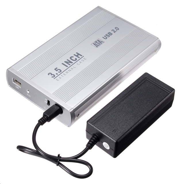 3.5 inch Silver USB 2.0 SATA External HDD HD Hard Drive Enclosure Case Box With Power Cable Adapter