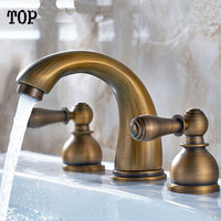 Dual Holder Three Hole Bathroom Basn Antique Faucet By Bronze Brushed Surface And Brass Body Mixer