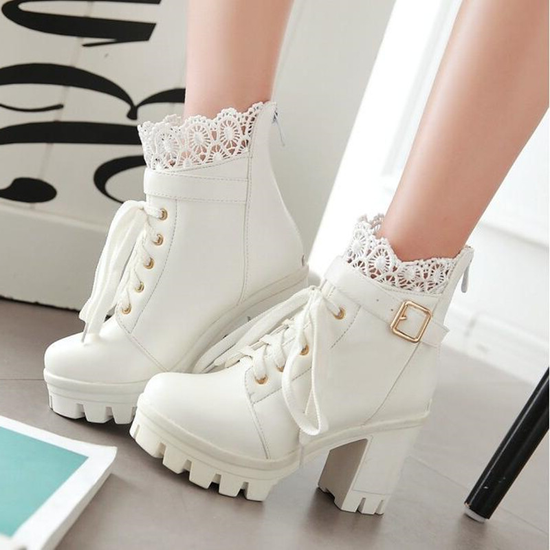 Image 5 - winter New pattern High heeled Coarse heel Martin boots Frenulum Waterproof Thick bottom Large code white Women Boots 34 43-in Ankle Boots from Shoes