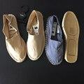 2016 Новый Удобный Хлопок Ткань Случайные Плоские Ботинки Женщин Скольжения на Дизайнерские Туфли Бежевого Цвета, синий