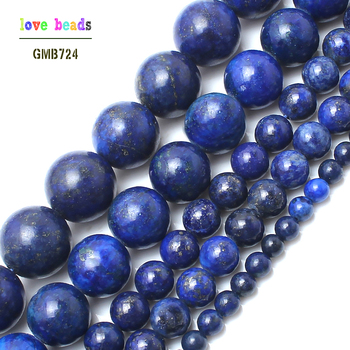 Natural Stone Lapis Lazuli Round Loose Beads 15 Strand 4 6 8 10 12MM Pick Size DIY Necklace Bracelet-F00078