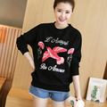 4xl plus big size sweatshirts women spring autumn winter 2017 feminina new embroidery velvet thicken fleece female A2532