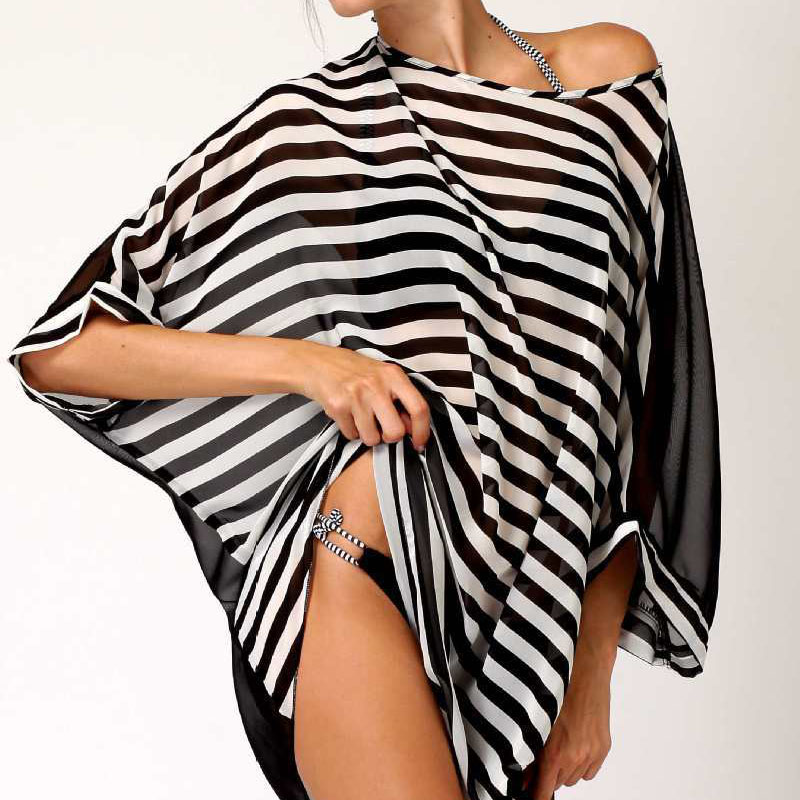 Buy Fashion Sexy Womens Beach Cover Stripes Oversized Beach Swimsuit Cover-up Beach Wear Swimwear Dress Anne
